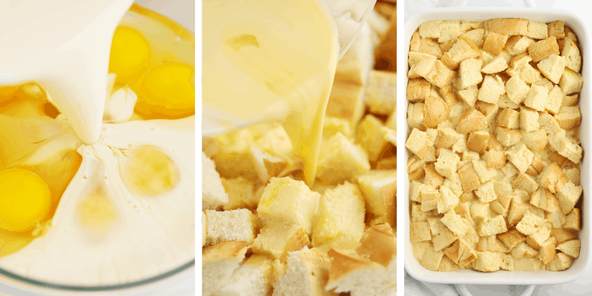 Three photos showing the steps for making the custard and pouring it over the bread in the baking dish.