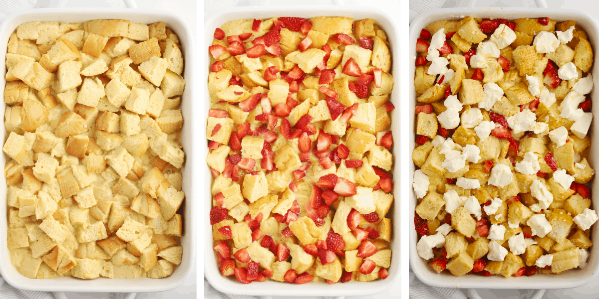Three photos showing the steps for topping the French Toast bake.