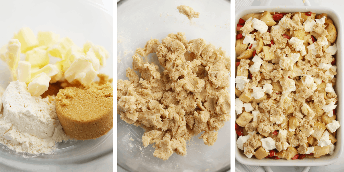 Three photos showing the steps for making streusel, then adding it to the top of the French toast.