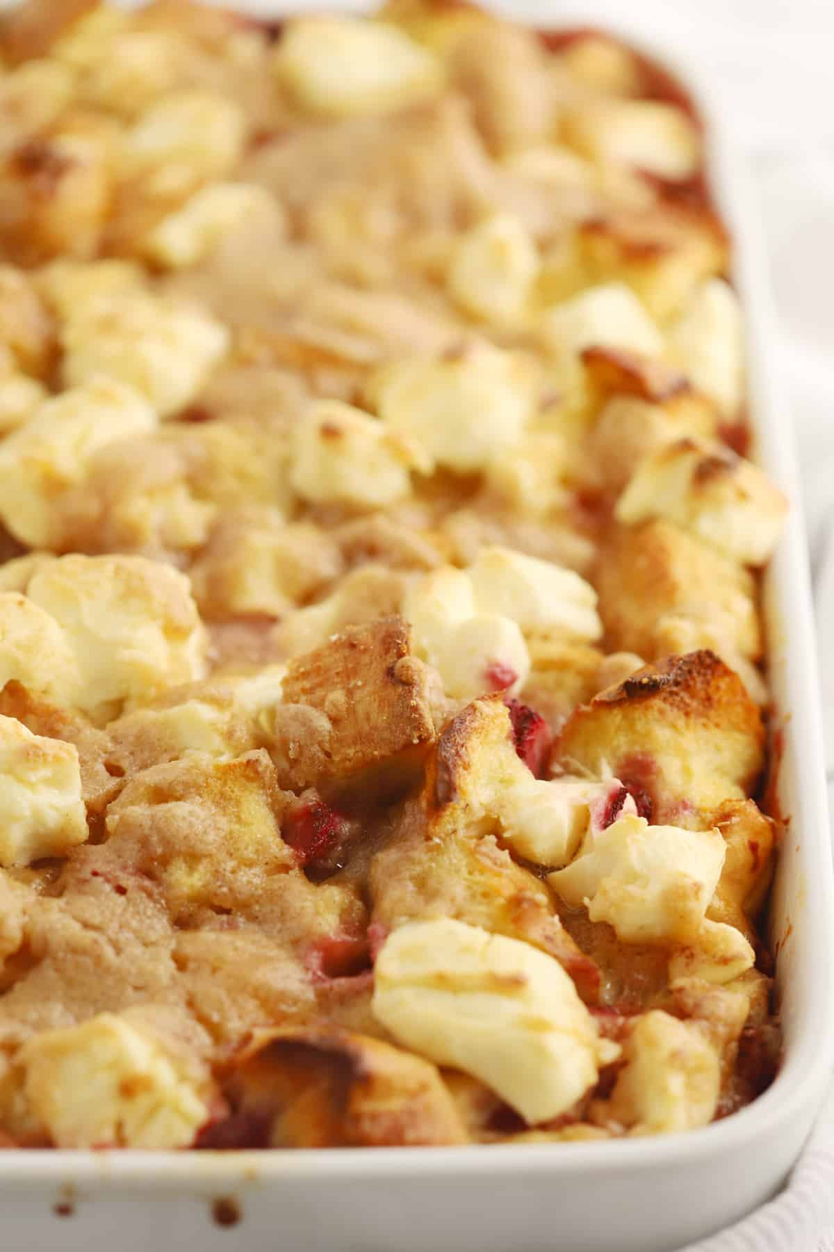 A baking dish with freshly baked French toast casserole.