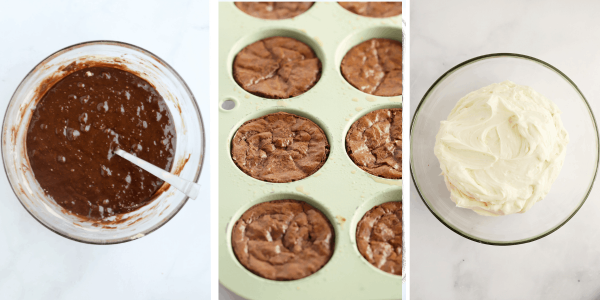 Three photos showing brownie batter in a bowl, baked brownies in muffin tins and a bowl full of cream cheese frosting.