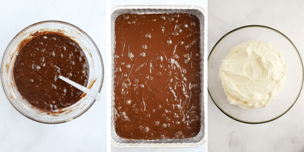 Three photos showing brownie mix in a bowl, brownie mix in a baking dish and a bowl full of cream cheese frosting.