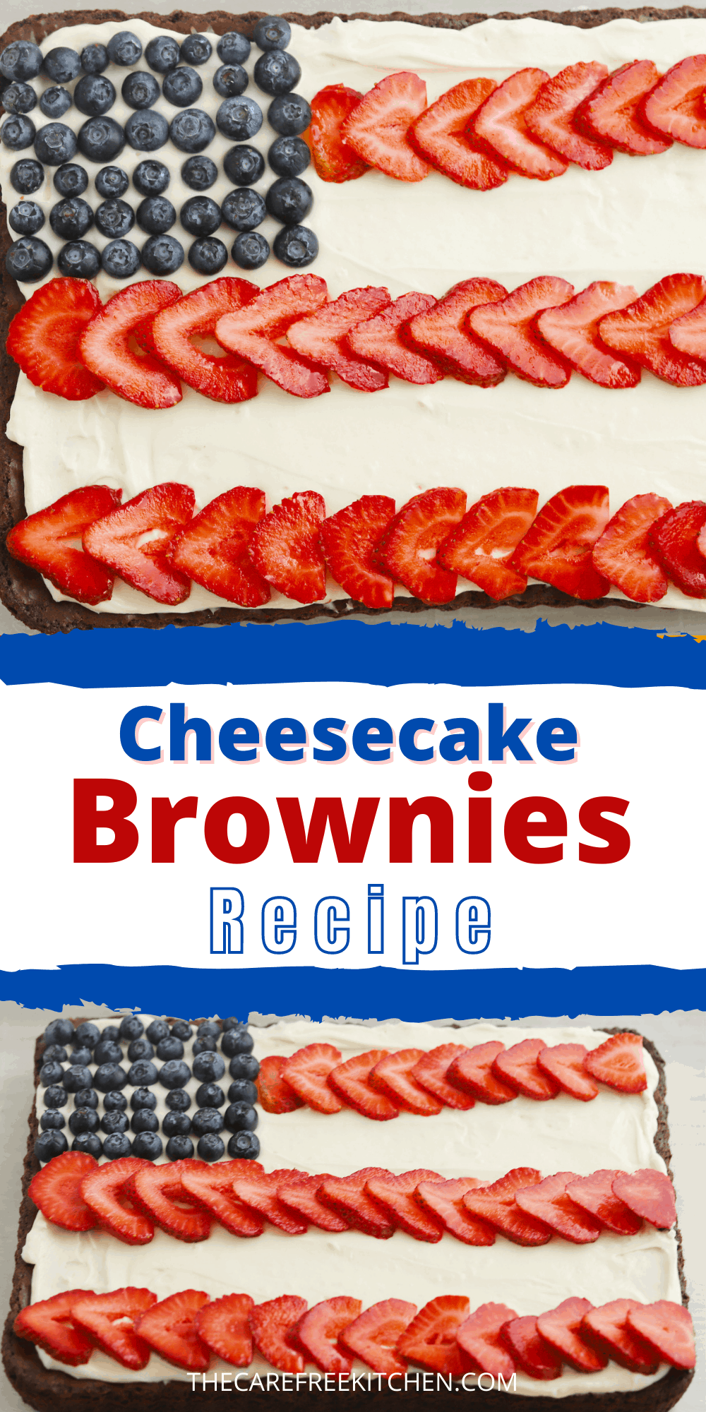 Pinterest pin for American Flag Brownies