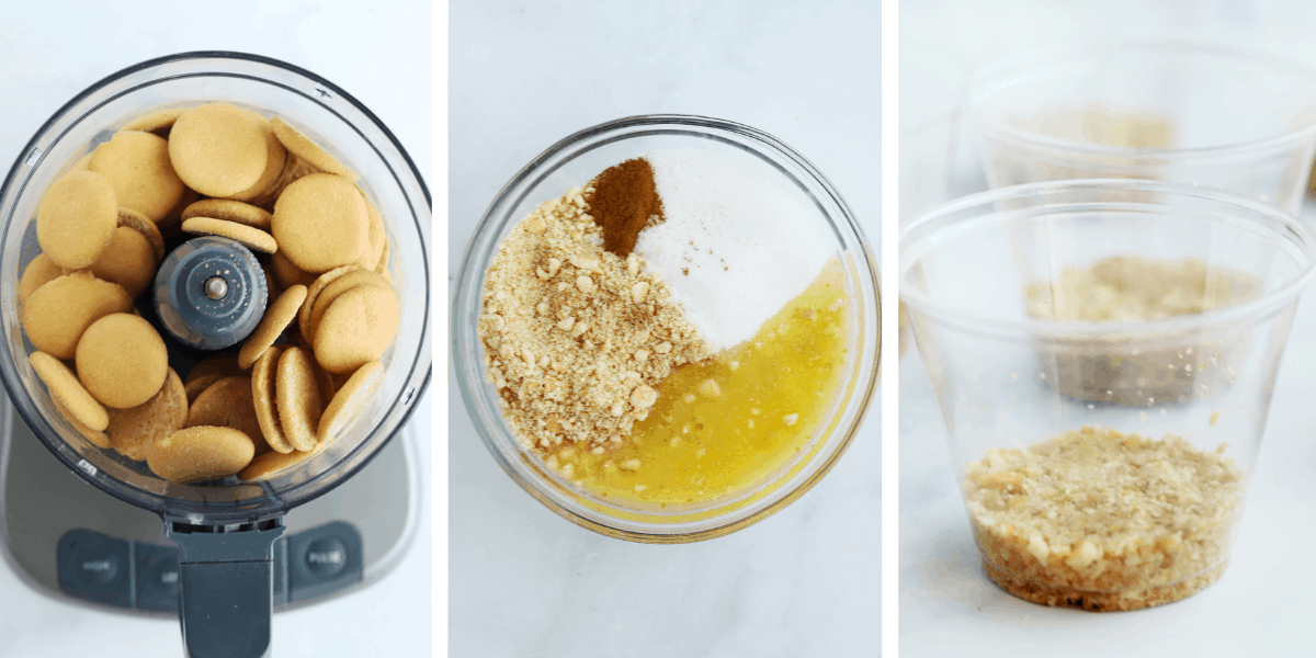 Three photos showing how to make the Nilla Wafer crust.