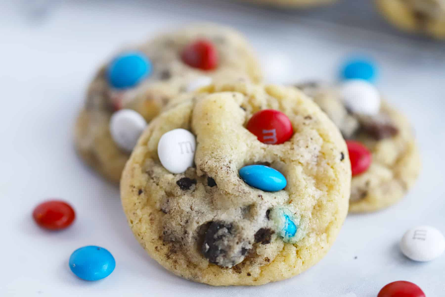 Chocolate chip cookies filled with Oreos and M&Ms.