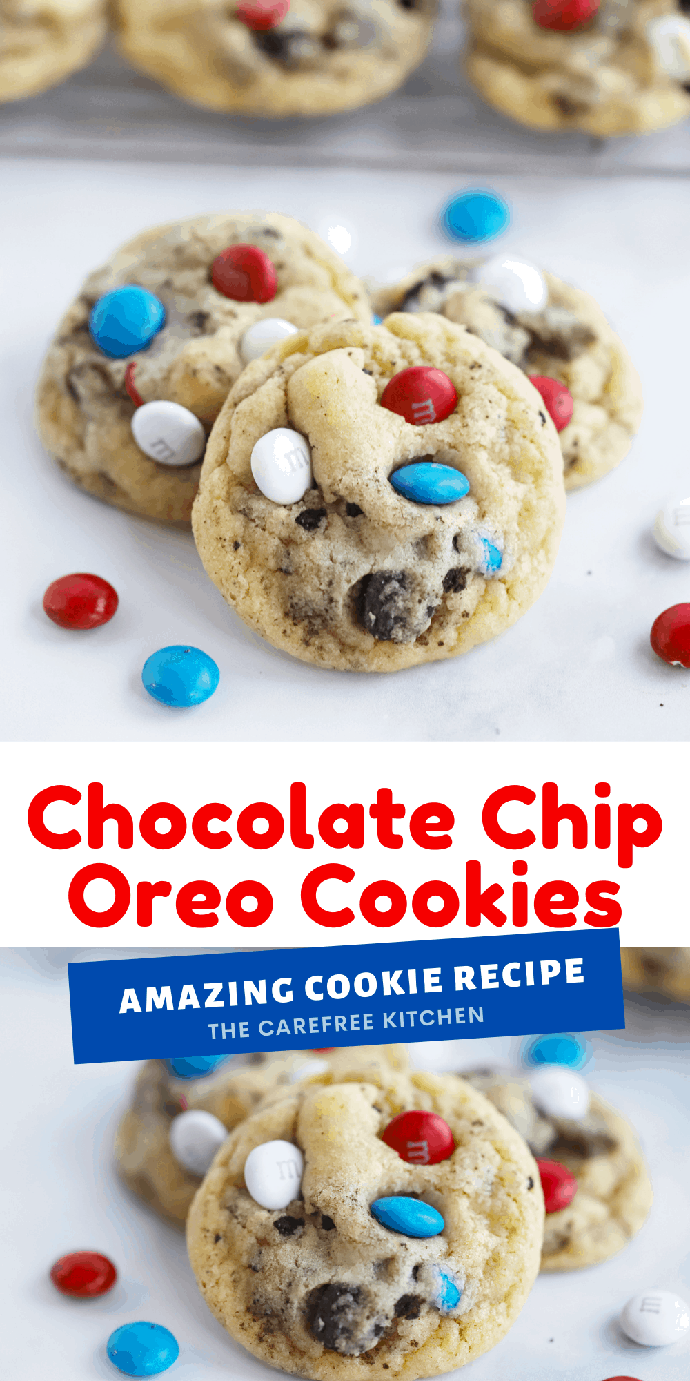 Pinterest pin for Oreo and M&M Cookies.