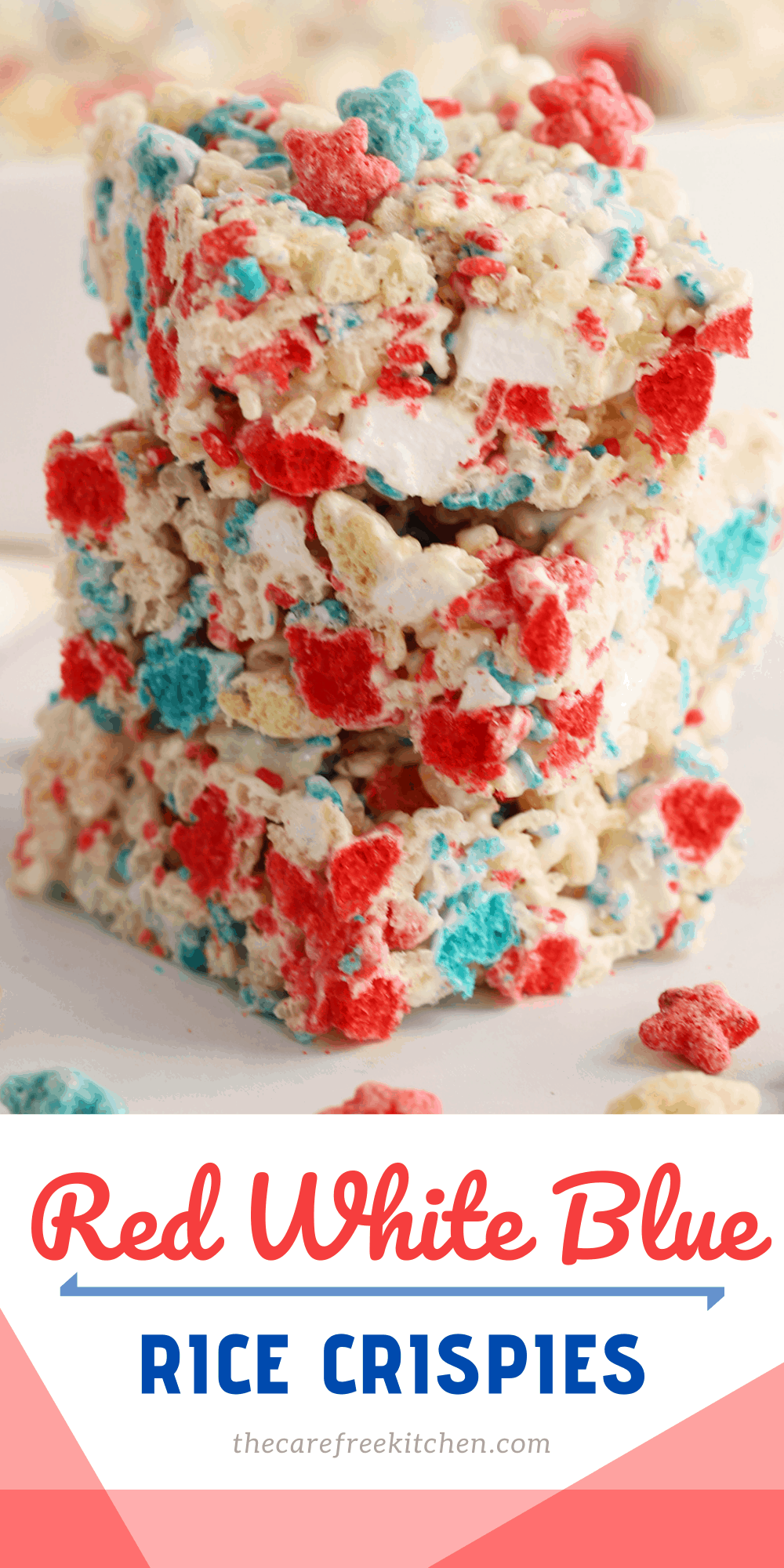 Pinterest pin for Red White and Blue Rice Krispies Treats