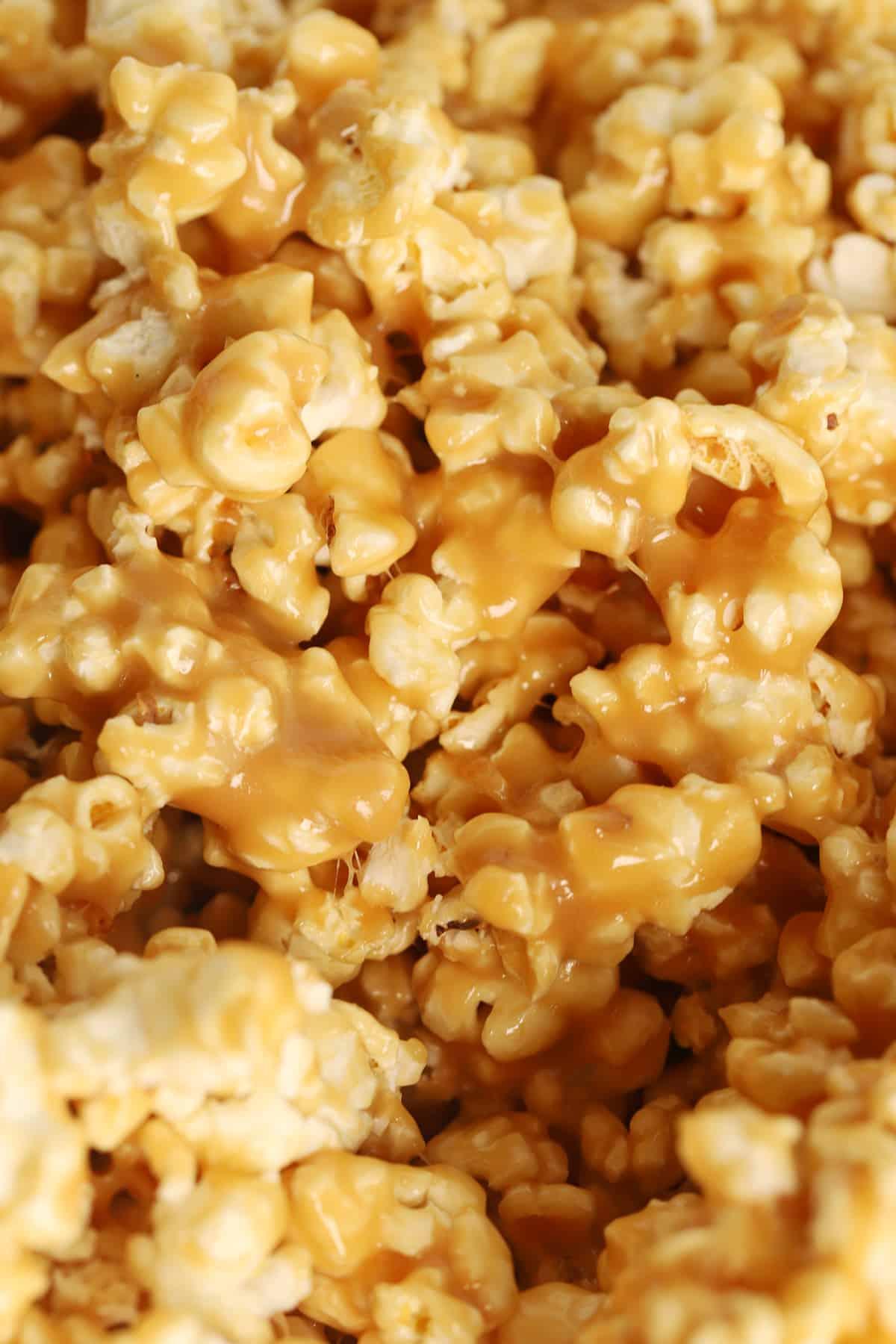 A closeup photo of caramel popcorn.