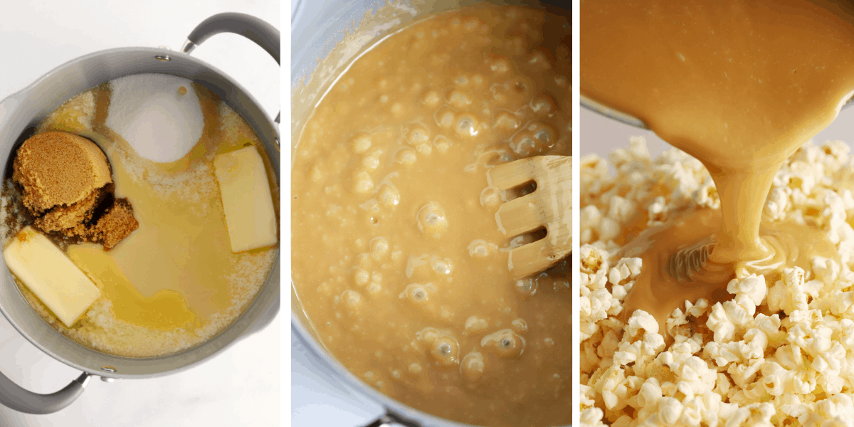 Three photos showing a pot with the ingredients to make caramel, a pot with the caramel cooking and a photo of caramel being poured over a bowl of popcorn.
