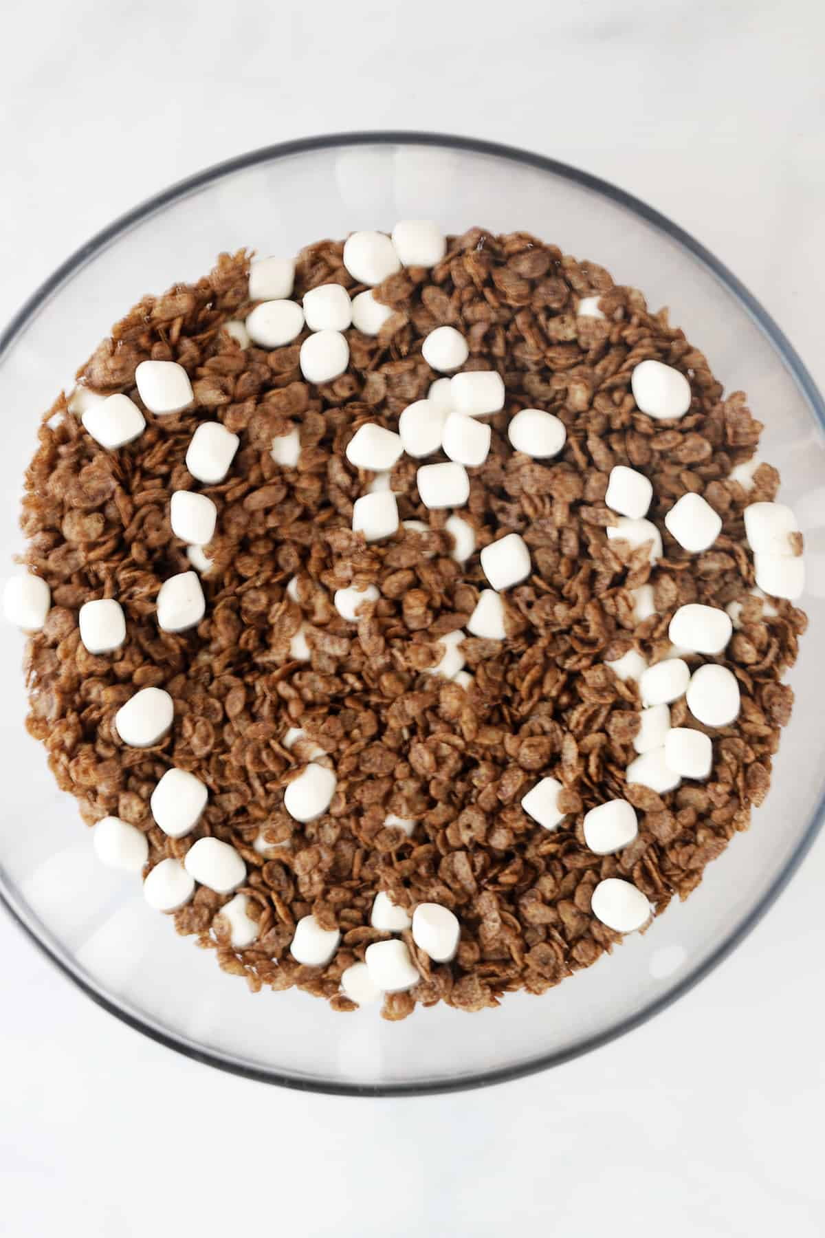 A glass bowl full of Cocoa Rice Krispies and mini marshmallows.