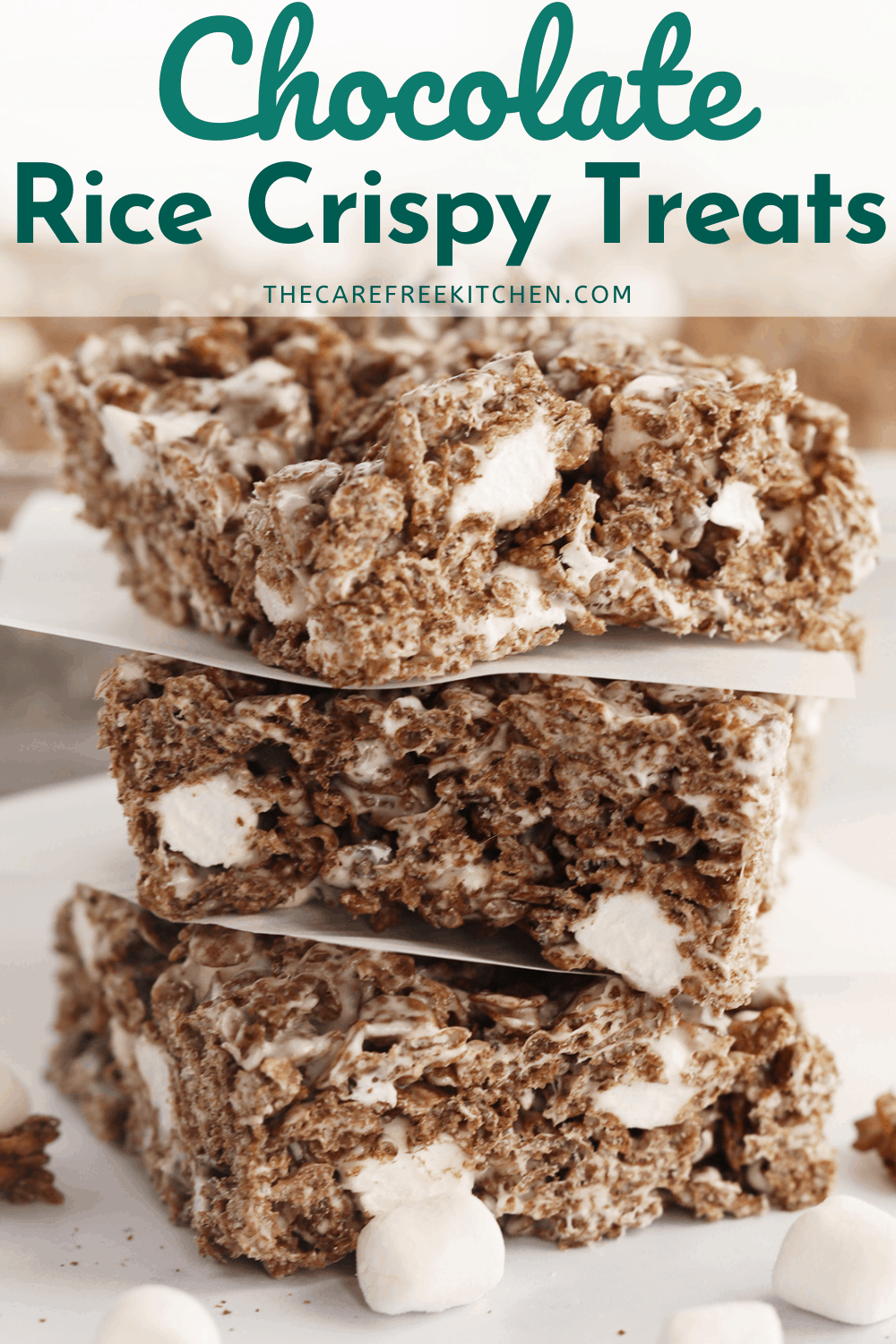 Pinterest pin for Chocolate Rice Krispies Treats.