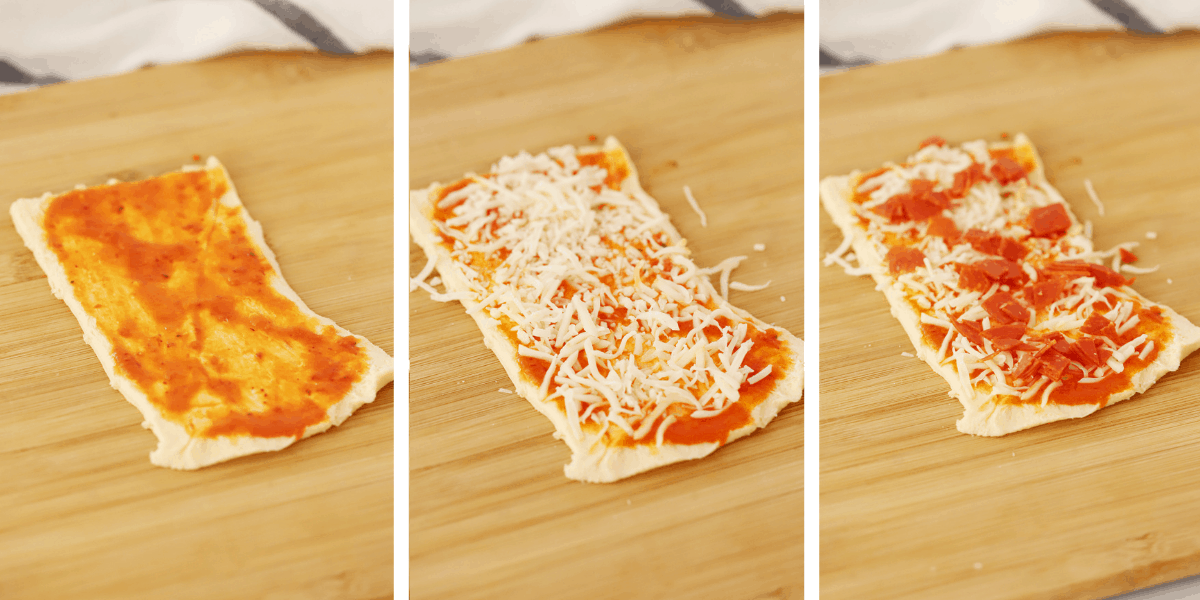 Three photos showing the steps for adding the sauce and toppings to the pizza dough.