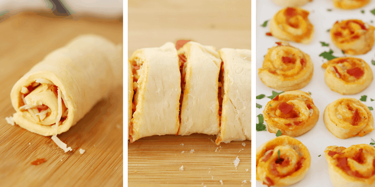Three photos showing the pizza dough roll, the pizza roll sliced and the baked Pizza Pinwheels on a sheet tray.