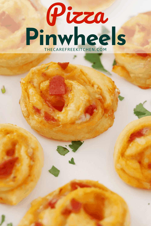 Pinterest pin for Pizza Pinwheels.