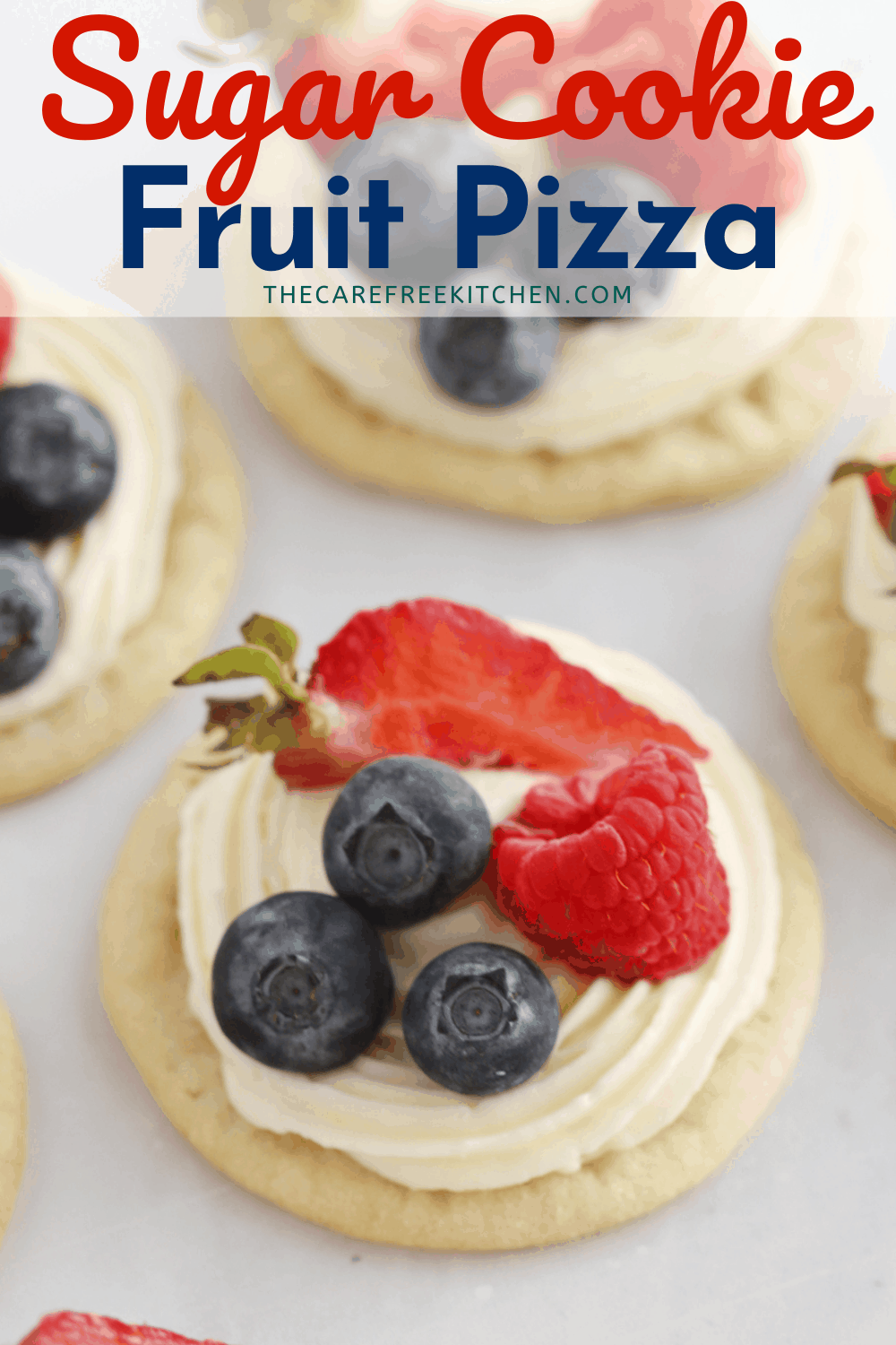 Pinterest pin for Sugar Cookie Fruit Pizza.
