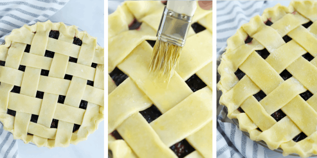 Three photos showing a lattice-topped pie being brushed with egg wash and dusted with sugar.