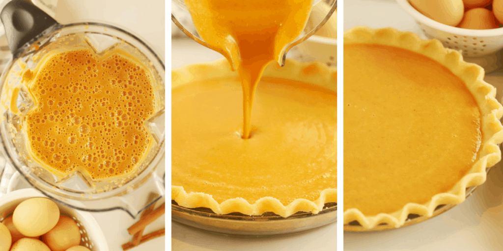 Three photos showing pumpkin pie filling being added to a pie crust.