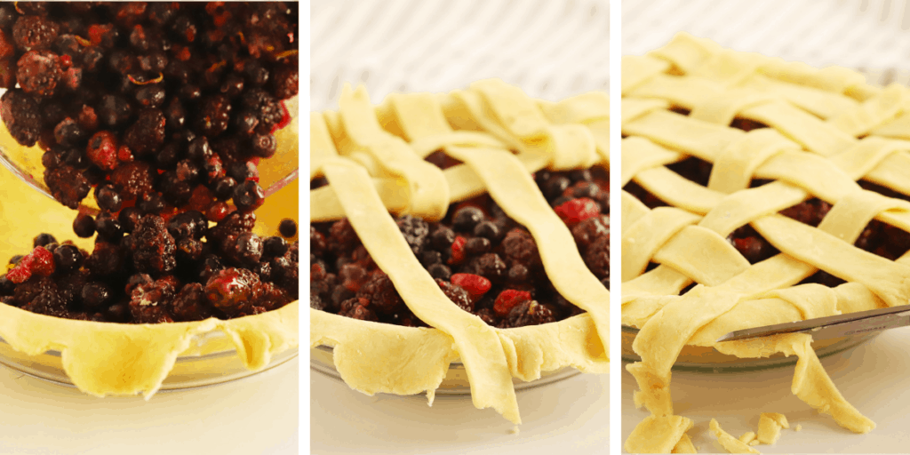 Three photos showing filling being added to a pie shell, then a lattice top being made.