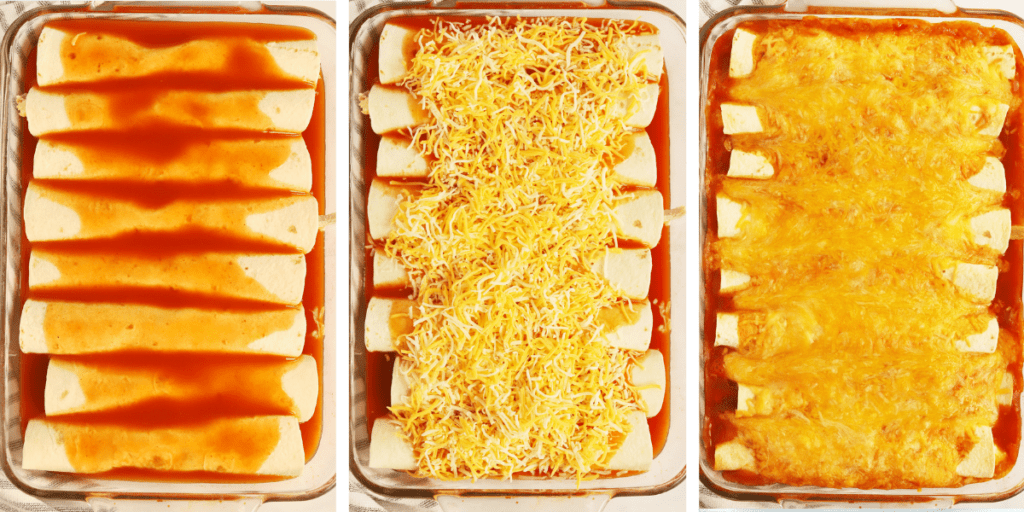 Three photos showing a pan of enchiladas without cheese, with cheese and then baked with cheese.