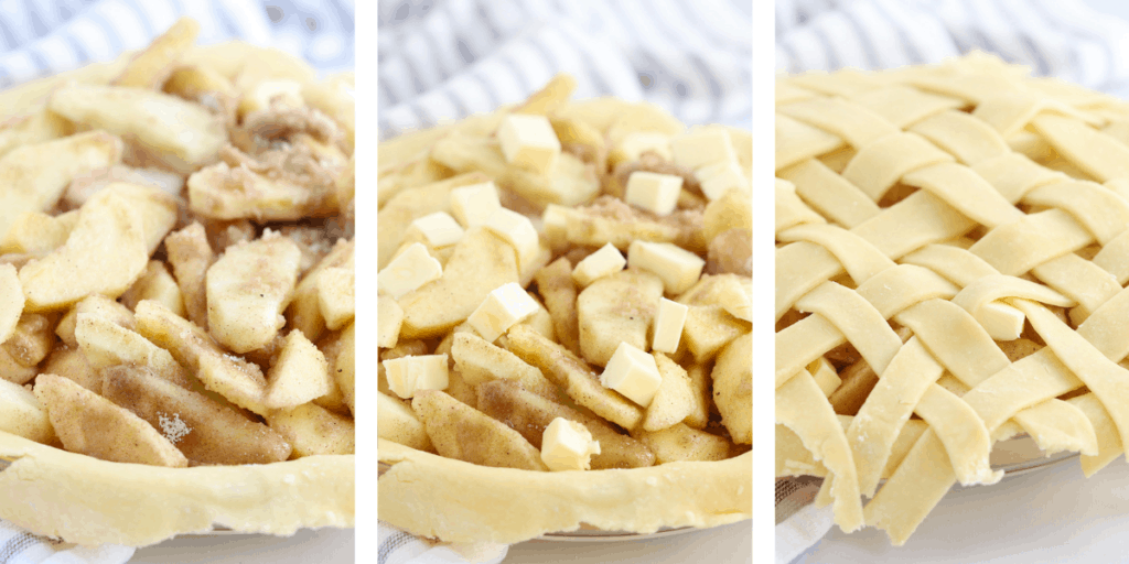 Three photos showing how to fill your pie and add the lattice top.