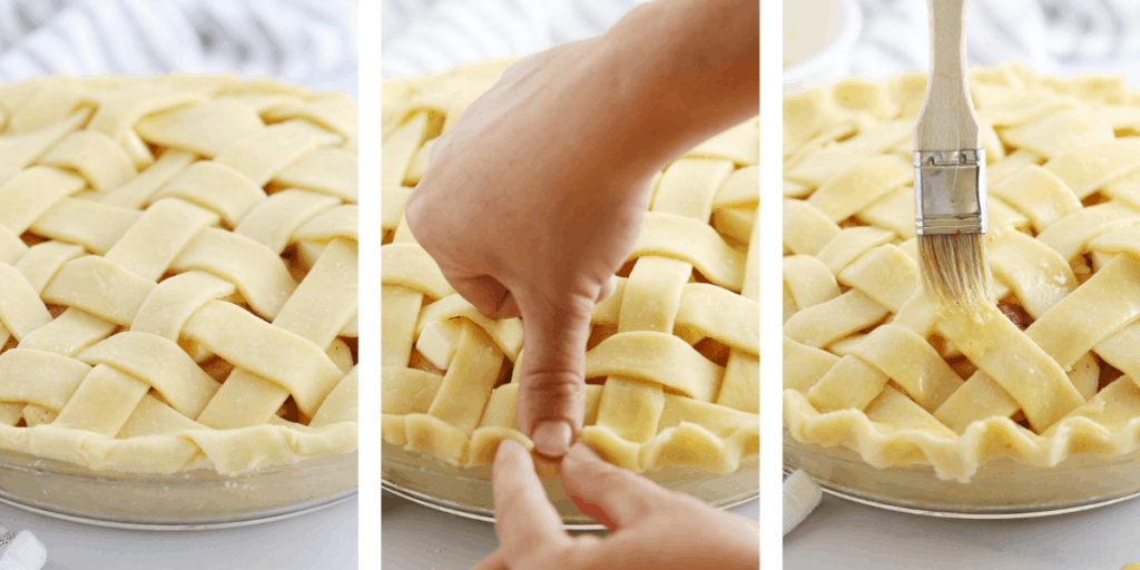 Three photos showing the steps for crimping and egg washing a pie crust.