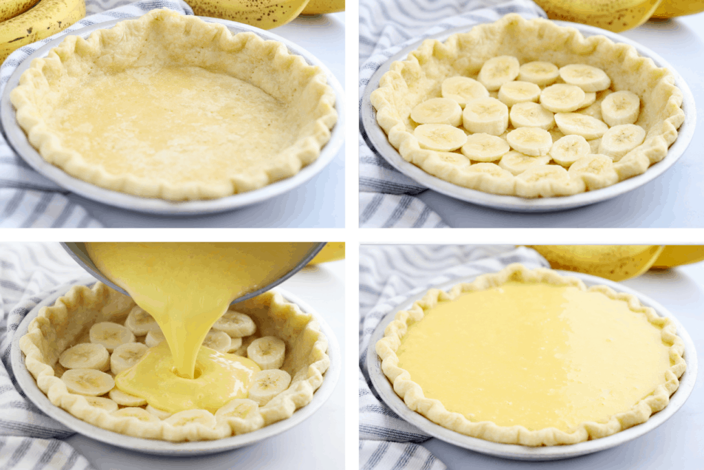 Four photos showing steps for filling this banana cream pie.