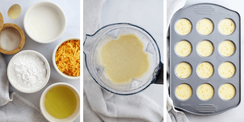 Three photos showing the ingredients, a blender full of batter and the filled mini muffin tins.