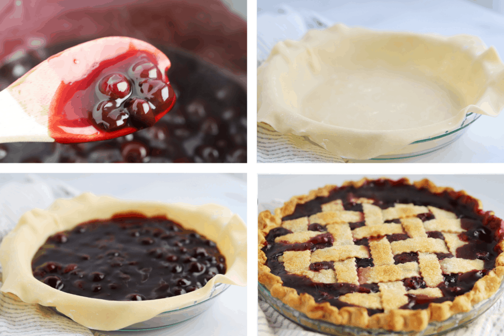 Four photos showing the process steps for making the filling, lining the pie plate, adding the filling and baking with the lattice top.