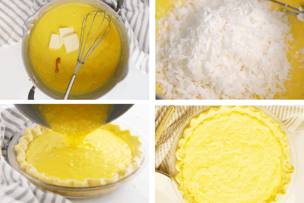 Four photos showing the steps for making coconut filling, adding it to the pie rust and baking.