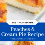pinterest pin for peaches and cream pie
