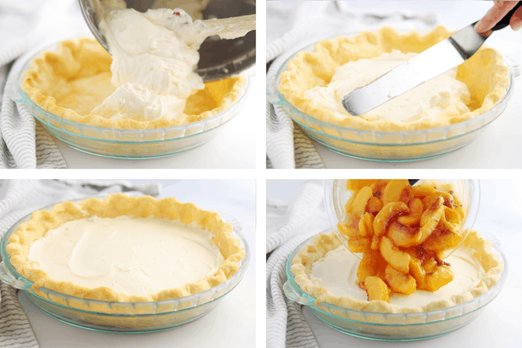 Four photos showing the steps for filling this peaches and cream pie.