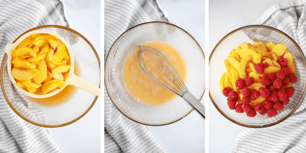 Three photos showing how to make the fresh peach pie filling.