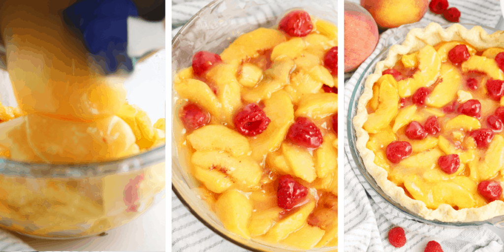 Three photos showing the process of adding the filling to this peach and raspberry pie.