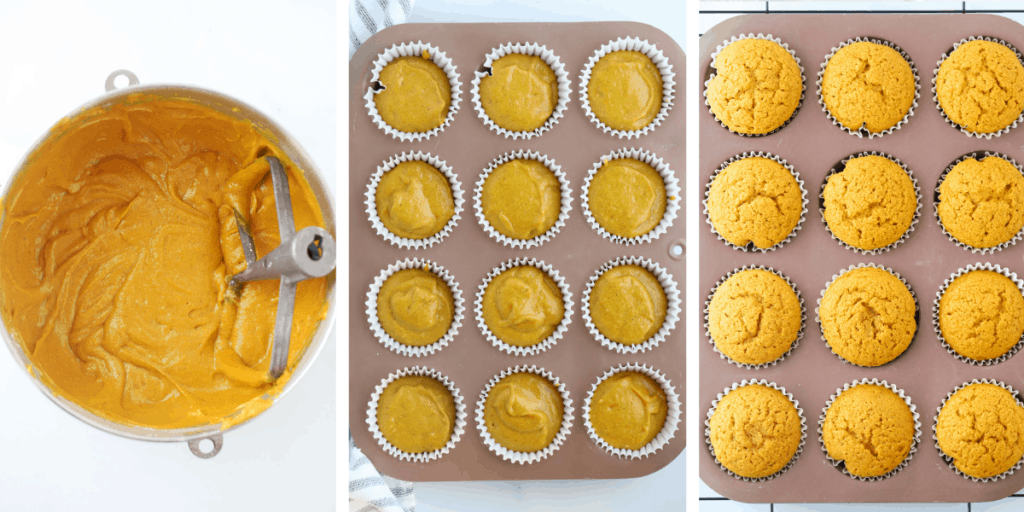 Three photos showing steps for making the batter, filling the muffin tins and baking the cupcakes.